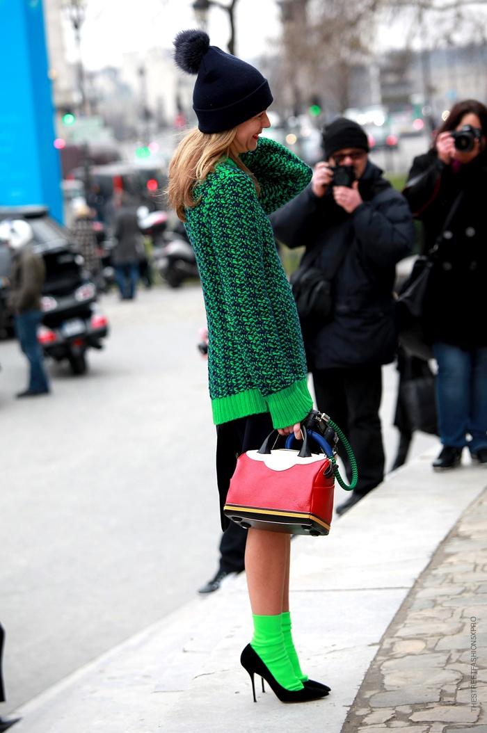Loving Natalie Joos in those neon green socks and black pumps. #GreenDream