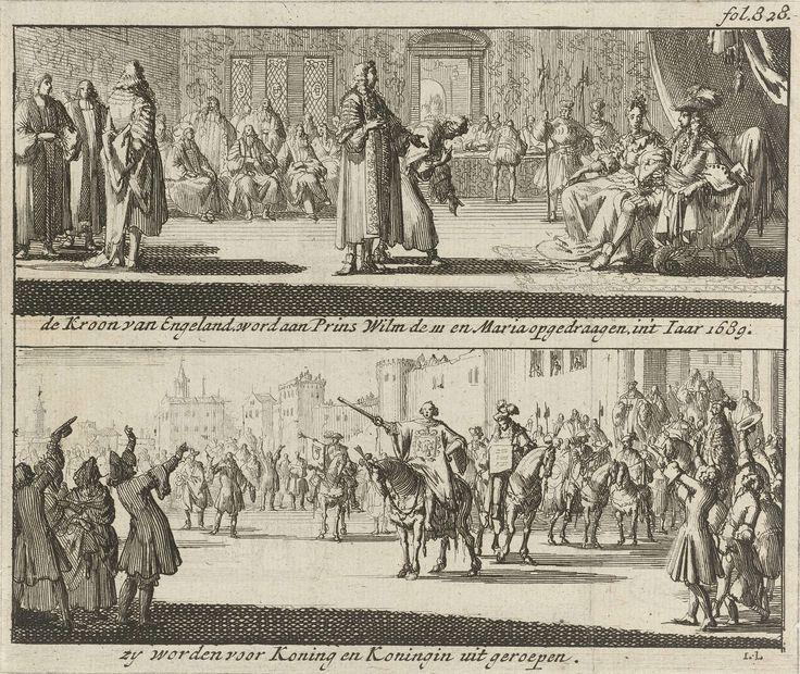 Jan Luyken   Willem en Maria uitgeroepen tot koning en koningin van Engeland, 1689, Jan Luyken, Jurriaen van Poolsum, 1689   Blad met twee voorstellingen. Boven wordt de Engelse kroon aangeboden aan Willem III en Maria, 23 februari 1689. Onder de bekendmaking op straat aan het volk door een stadsomroeper dat prins Willem III en prinses Maria Stuart tot koning en koningin van Engeland zijn uitgeroepen, 23 februari 1689. Gemerkt rechtsboven: fol. 828.