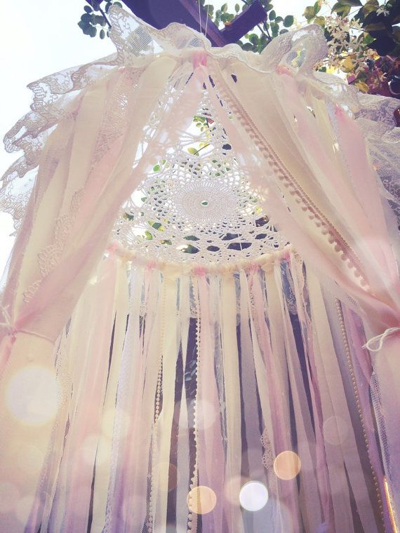#dreamnursery @cuckoolandcom Mini Shabby Chic Boho Gypsy Lace Crochet Doily White, Cream, & Light Pink Gold Glitter Feather Dreamcatcher Canopy // Baby Nursery Decor