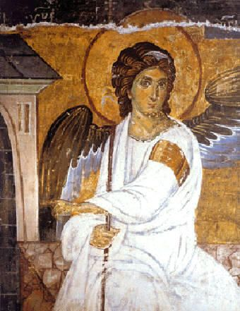 Archangel (believed to be Gabriel) at the entrance of Christ's empty tomb, announcing His resurrection to the myrrh-bearing women. Description from angelgabriel.blogspot.com. I searched for this on bing.com/images