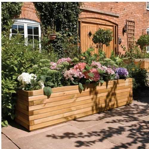 large wooden planter rustic 6ft patio rectangular flower bed pot decking sturdy