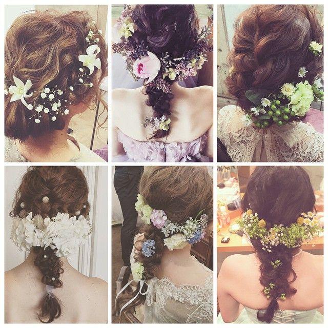 * * hair × flower 髪に生花 好き♡ #ヘアアレンジ #flower #wedding #ネイル