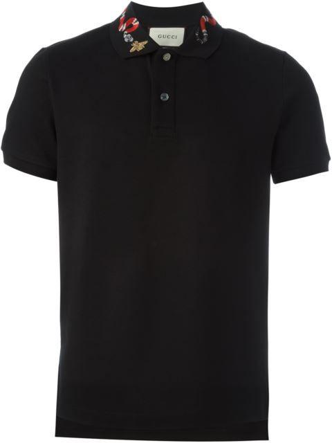 GUCCI snake embroidery polo shirt. #gucci #cloth #shirt