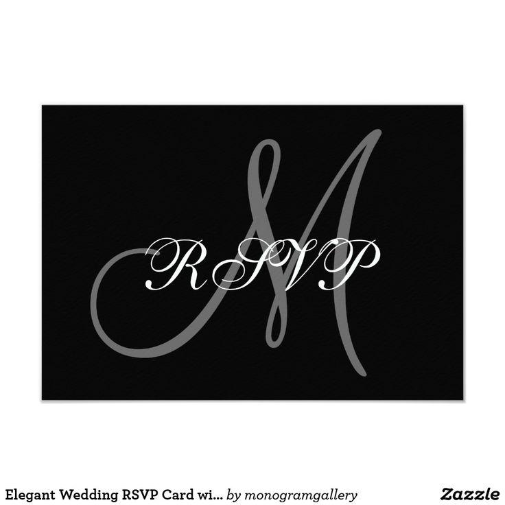 Elegant Wedding RSVP Card with Monogram 37