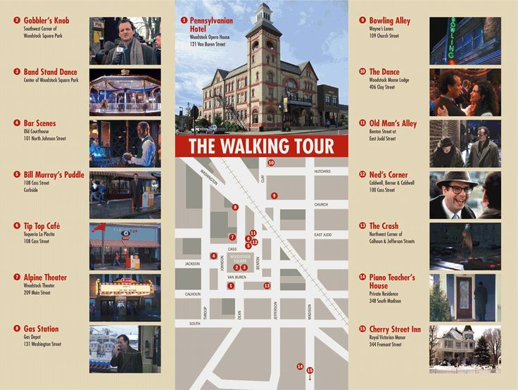 The Groundhog Day walking tour via Google.-- film locations in Woodstock, IL