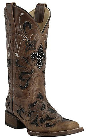Corral Women's Distressed Light Brown with Black Sequin Inlay Square Toe Western