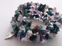 brancelet stone gems memory wire leaf pendant