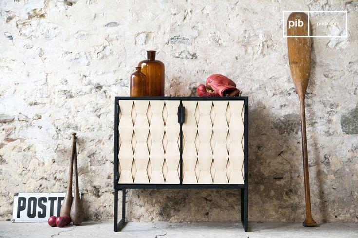 Die Anrichte Timantti verbindet auf eine gelungene Art und Weise zwei verschiedene Stile. Auf der einen Seite erinnert es mit seinen grafischen Motiven, den schlichten Griffen und den feinen Füßen an den Stil die 60er Jahre.