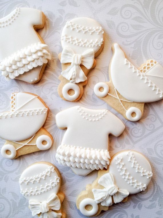 Elegant White Decorated Baby Cookies  12 by thesweetesttiers