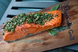 Cedar Plank Salmon with Spearmint Sauce