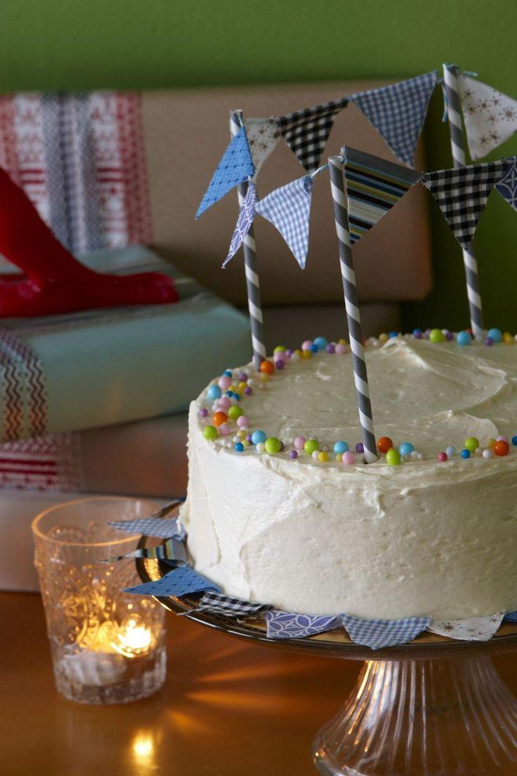 diy, guirnaldas para la tarta de cumpleaños