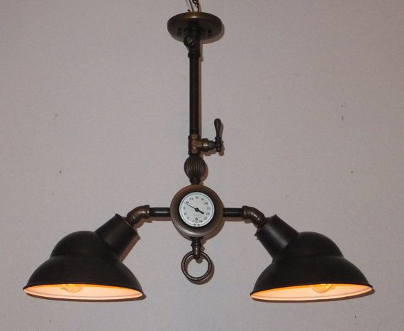 Steampunk lamp vintage industrial chandelier antique machine age edison bulb ceiling fixture
