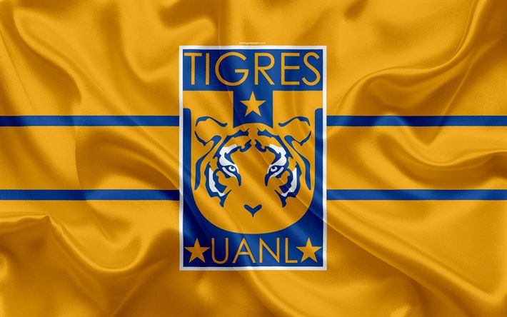 Download wallpapers UANL Tigres FC, 4K, Mexican Football Club, emblem, logo, sign, football, Primera Division, Mexico Football Championships, Monterrey, Mexico, silk flag