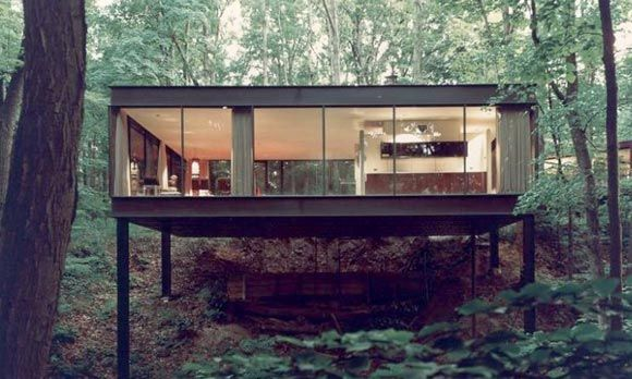 Glass House in the woods.