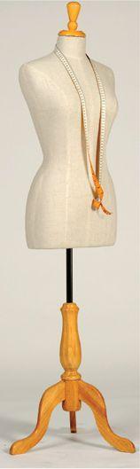 Female Fabric Bust with Timber Tripod Base #shopforshops #mannequins #fabrictorso #calico #OTS #offtheshelf #fashion #clothingdisplay #vm #visualmerchandising