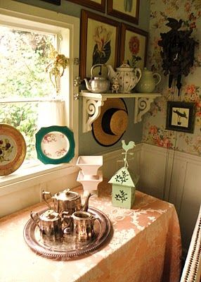 Tea nook at the cottage~ with a peach tablecloth!