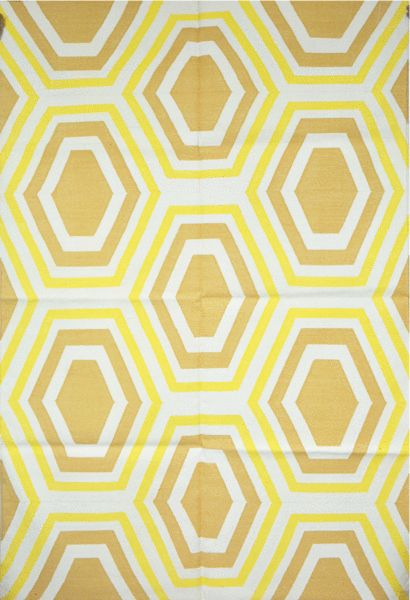 @crimson_angan Contemporary Design Reversible Cotton Flat Weave Geometric Rug - Yellow Rug (4'X6').  Handcrafted by certified artisans in India, this 4'x6' cotton dhurrie rugs features medium sized hexagonal ring pattern in tones of yellow colour. It comes under cheap rugs since this rugs for sale. It can be used as large area rugs, children's rug, outdoor  rugs,  kitchen  rugs, patio rugs etc. www.crimsoncourtyard.com