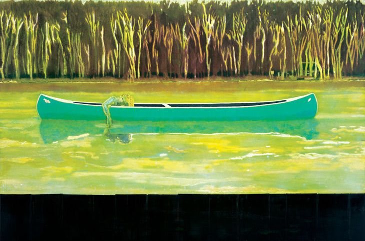 "Canoe-Lake. Peter Doig.  ""Drawing from his Canadian childhood, and one of the spookier scenes from Friday the 13th, Peter Doig's canoes have become a seminal image in his work; their reflection in the water, like a double life, is a fantasy mirror to the unknown"" Saatchi Gallery"