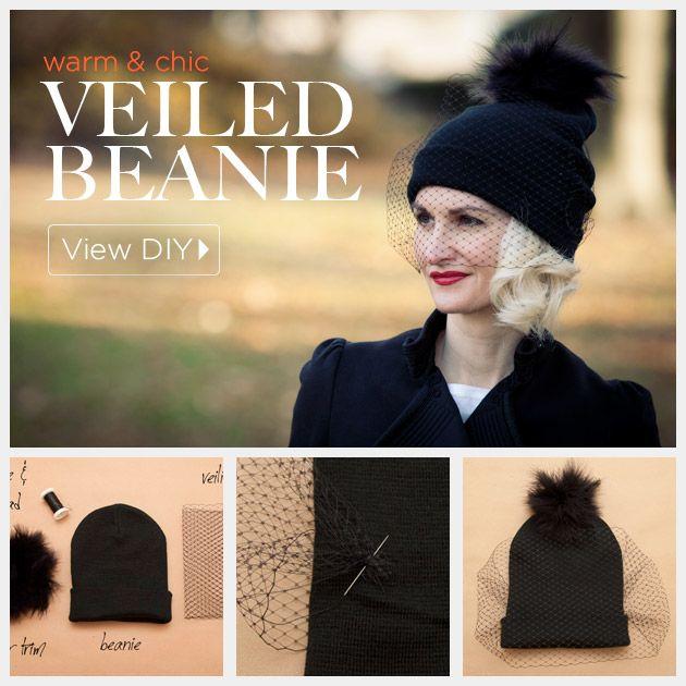DIY Veiled Beanie by trinketsinbloom.com