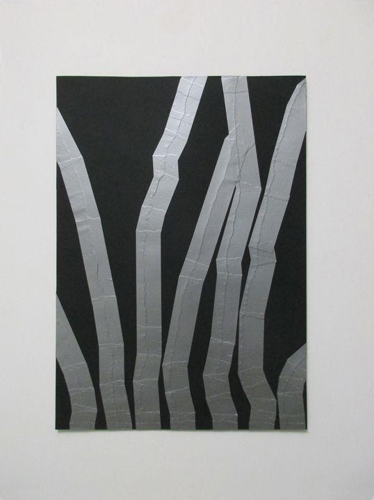 Carlo Colli, Recompose Black 2'11'', 2016, pittura nera strappata su carta e nastro americano grigio, 50x70cm. (installato in modo canonico con classici chiodi)