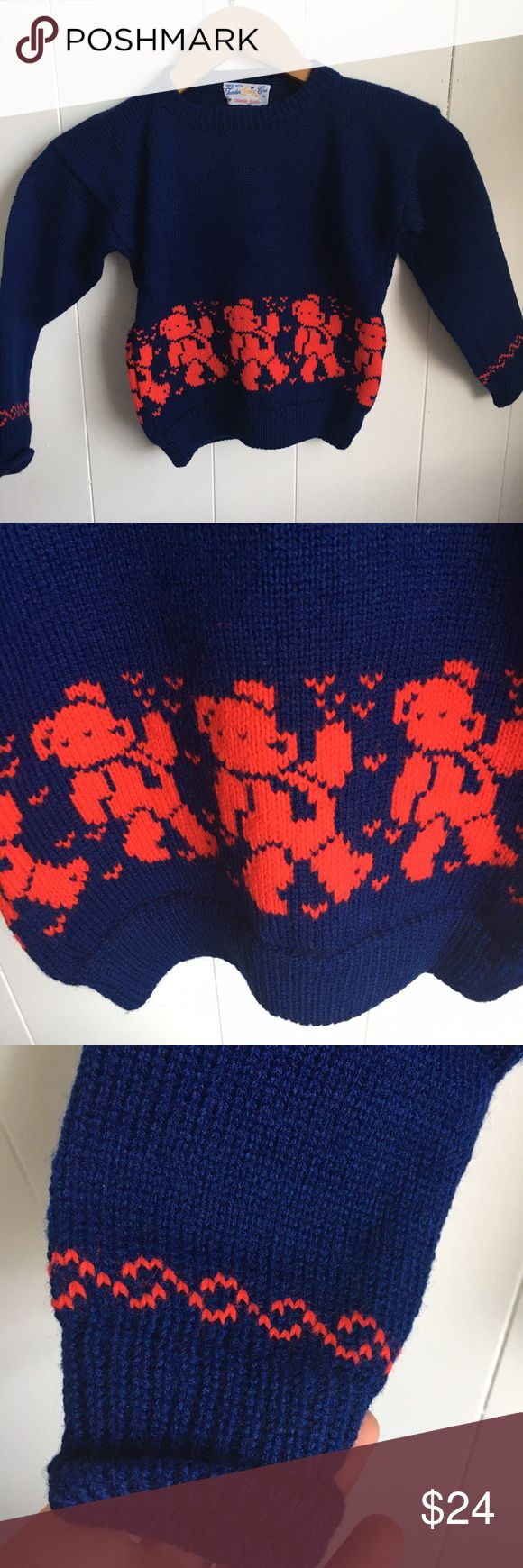 """Hand knit vintage navy red teddy bear sweater kids Pit to pit is 15"""". Sleeve 13"""". Back length 16"""". Vintage Shirts & Tops Sweaters"""