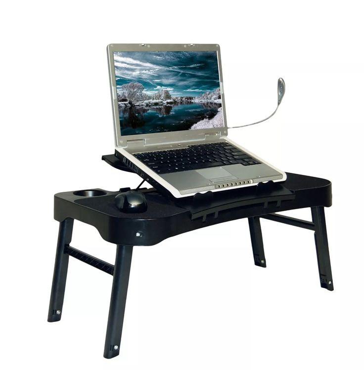 mesa portátil para notebook cooler - grátis luminária de led
