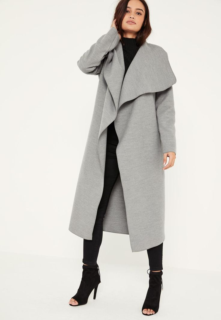 Missguided - Grey Oversized Waterfall Duster Coat