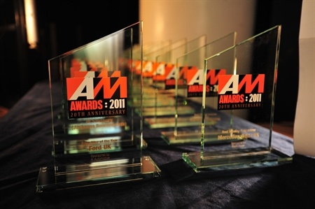 The 2011 AM Award trophies all lined up ready to be handed out. Essex Auto Group won Best UK Retail Group.