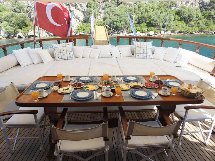 beautiful setting for a #bluecruise breakfast aboard #gulet SOFIA #guletholidays #turkey and #greece http://miryabluecruise.com/portfolio_page/sofia