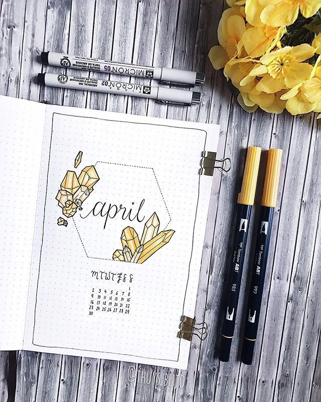 Hello April This Month S Theme Is Crystals And Gemstones In Particular Citrine Why First Becaus April Bullet Journal Bullet Journal Themes Bullet Journal