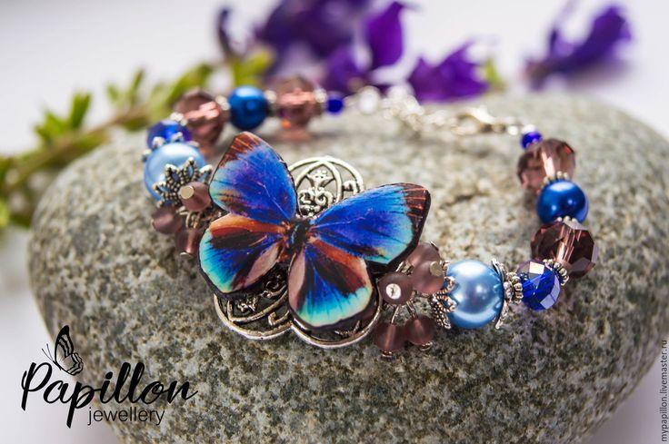 Купить Браслет Бабочка фиолетовая - фиолетовый, бабочка, летний, браслет, лето…