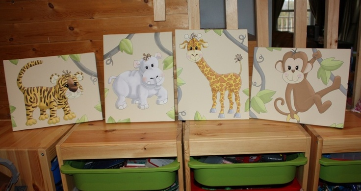 Set of 4 Jungle Animal 11x14 Stretched Canvases Baby Nursery CANVAS Bedroom Wall Art. $120.00, via Etsy.: Babies, Stretched Canvas, Canvases Baby, Animal 11X14, Canvas Bedroom, Jungle Animals, Baby Nursery