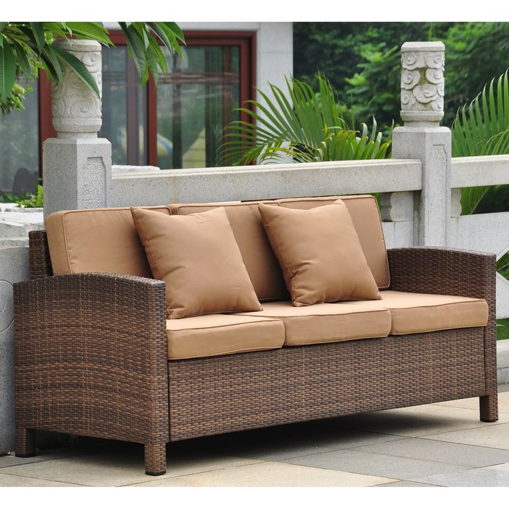 """This attractive outdoor sofa set from International Caravan features durable materials such as a corrosive free, aluminum frame and outdoor polyester fabric. Update the look and feel of your outdoor space with this beautiful sofa set. 63"""" wide. $639.00"""