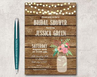 Rustic Bridal Shower Invitation Printable Mason by ohlillydesigns