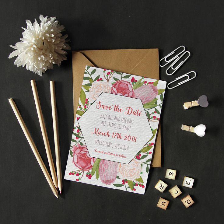 Save the Date with a floral theme #savethedate #australia #nativebotanicals #pinks #berriesandcream #roses #peony #protea #weddings #thehellobureau