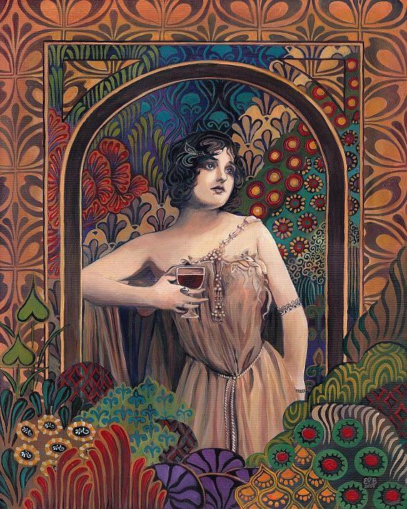 Meditrina - Roman Goddess of Wine  A print of an original painting by Emily Balivet.    The Roman goddess of wine, Meditrina, Daughter of Apollo.