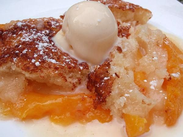 PEACH COBBLER   This a Paula Deen recipe!                                                      Self-rising flour is all-purpose flour with baking powder and salt added. To make your own, combine 1 cup of all-purpose flour with 1 1/2 teaspoons of baking powder and 1/2 teaspoon of salt.