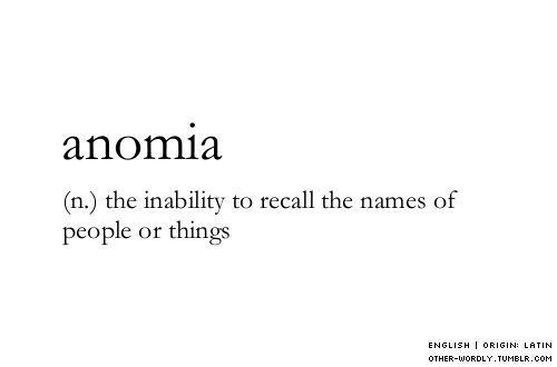 pronunciation | \a-nOm-E-a\ #anomia, noun, english, forget, names, words, otherwordly, other-wordly, definitions, A,