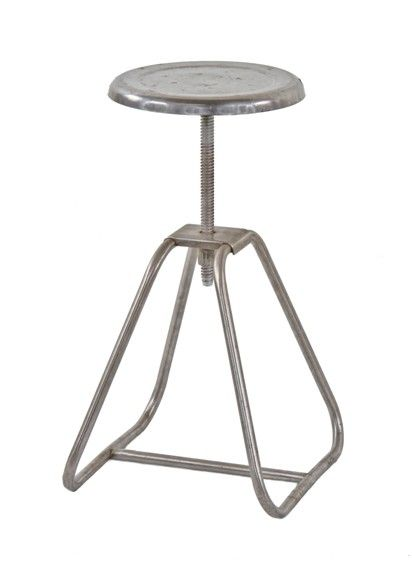 american vintage medical tubular stainless steel hospital operating room adjustable height stationary stool with revolving seat