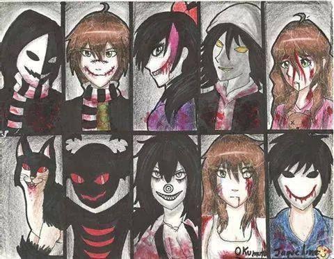 Top row: kagekao Liu Nina puppeteer Sally. Bottom row: Grinny cat zalgo me clockwork bloody painter