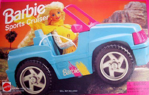 Barbie sports cruiser jeep vehicle convertible car 1995 for Motorized barbie convertible car