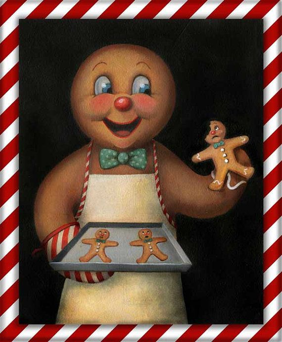 This jolly little Gingerbread Man is so excited to be baking his Christmas cookies which happen to be gingerbread! Perhaps he is a wee bit too