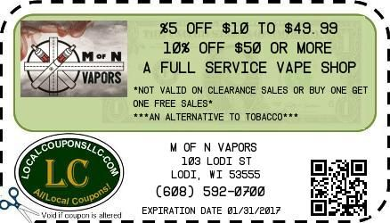 Coupon in Lodi WI for M of N Vapors from Local Coupons LLC.