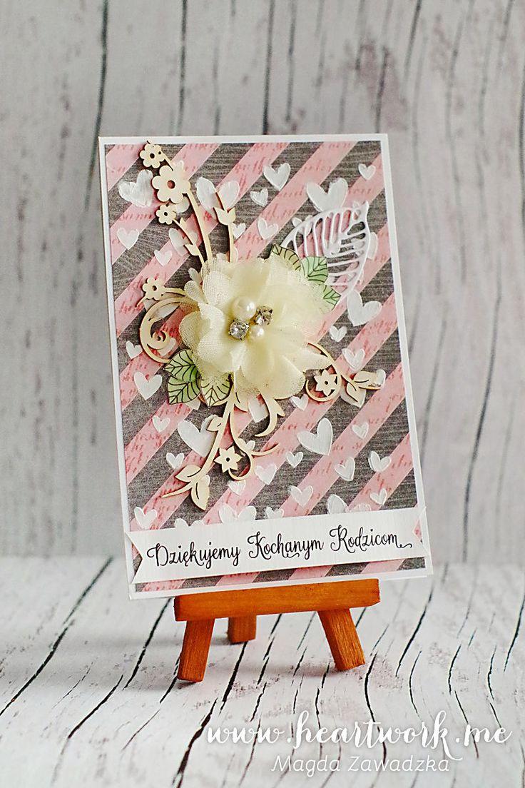 Pastelowa kartka - podziękowanie dla rodziców od pary młodej. Prezent od nowożeńców w podziękowaniu za miłość i wychowanie. ----- Handmade scrapbooking card for parents from newlyweds