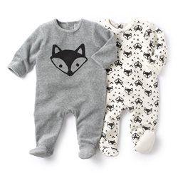 Pyjama à pieds en velours (lot de 2) R essentiel - Pyjama