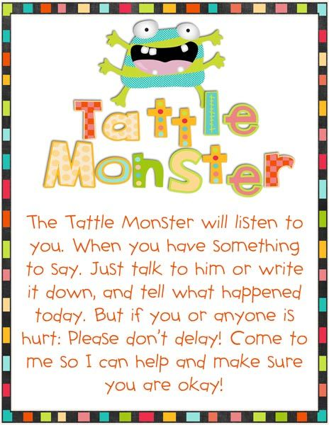 Tattling is always an issue with students in the classroom. This is a cute poster idea to have in the room and remind students the policy on tattling!