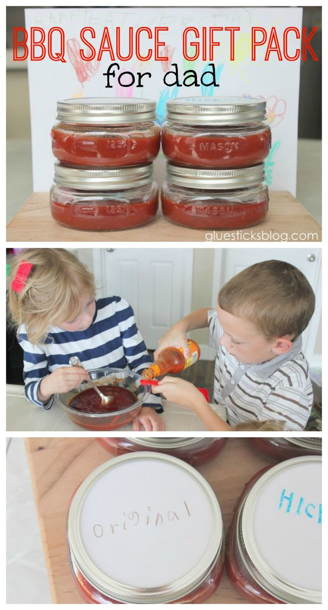 The daddy in our home is a grill master. We love when he is in the mood to bbq for us! The kids and I had fun making him a batch of homemade bbq sauce. We made a big batch of original, split it…