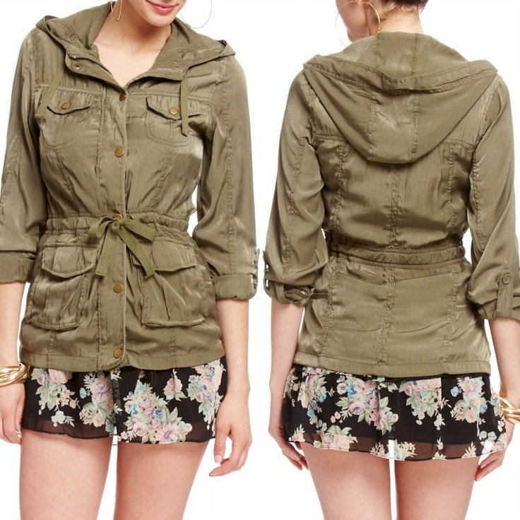 Tie Waist Jacket - $39.95  A hint of military will take your look a long ways and this super soft jacket does the trick! With a flirty zip front, four pocket detail and self-tie waist, this little number is gorgeous over chiffon dresses for music festival fun