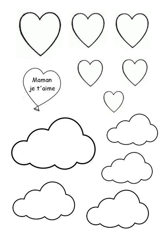 Gabarit - Décor nuages et coeurs