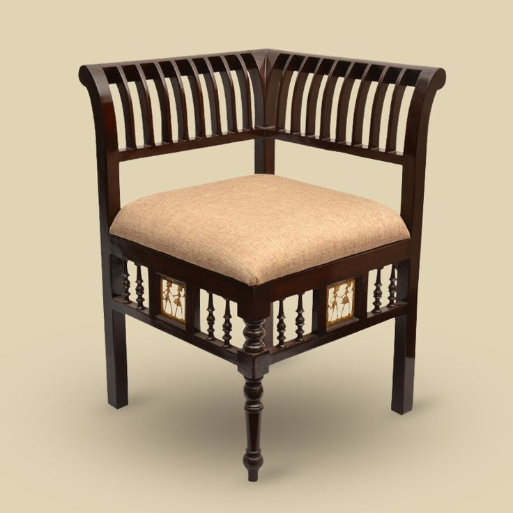 Teak Wood L Shaped Chair With Dhokra Work | #simple #Furniture #Seating #simple, #Furniture, #Seating,